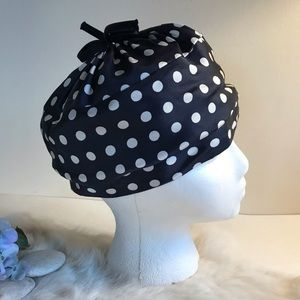 Vintage 1950s Bucket Hat Polka Dot Navy & White